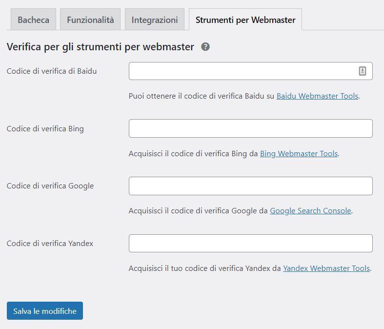 Verifica strumenti per webmaster di Yoast SEO